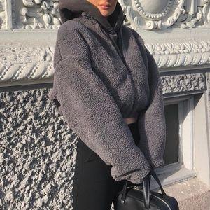 Nicki Studios Grey Zip Fleece Sweater
